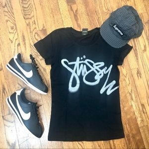 Stussy NWOT black and glitter silver tee Small
